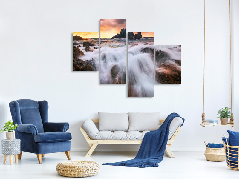 Modern 4 Piece Canvas Print Rush II