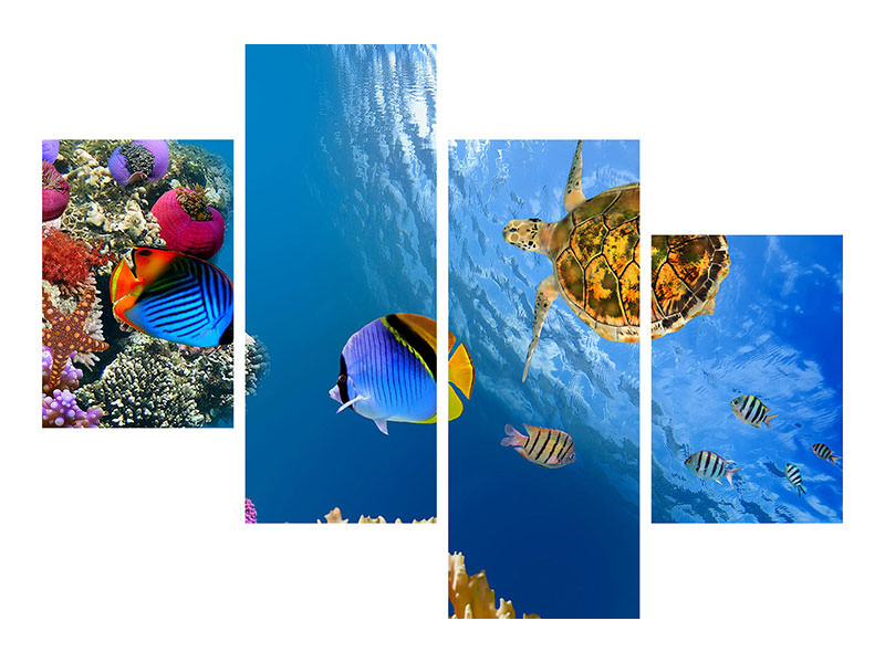 Modern 4 Piece Canvas Print Fish In the Water