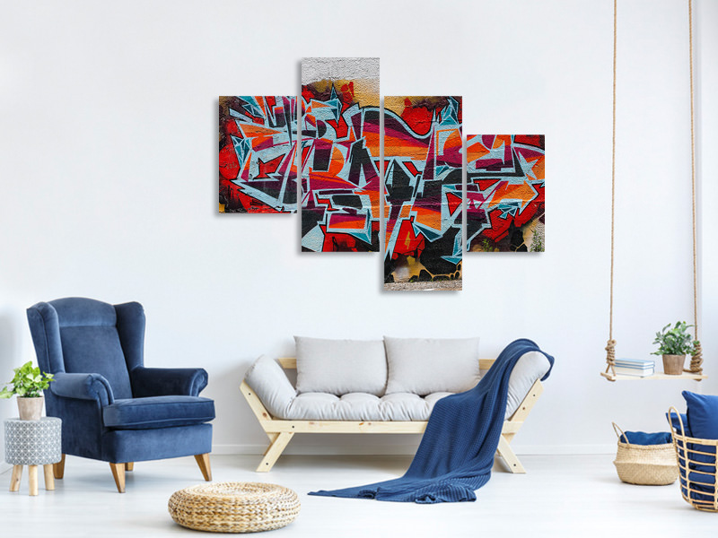 Modern 4 Piece Canvas Print New York Graffiti