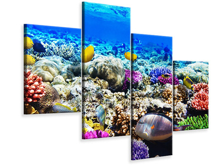 Modern 4 Piece Canvas Print Fish Aquarium