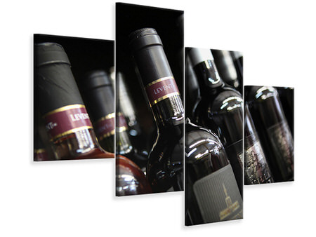 Modern 4 Piece Canvas Print Bottled Wines