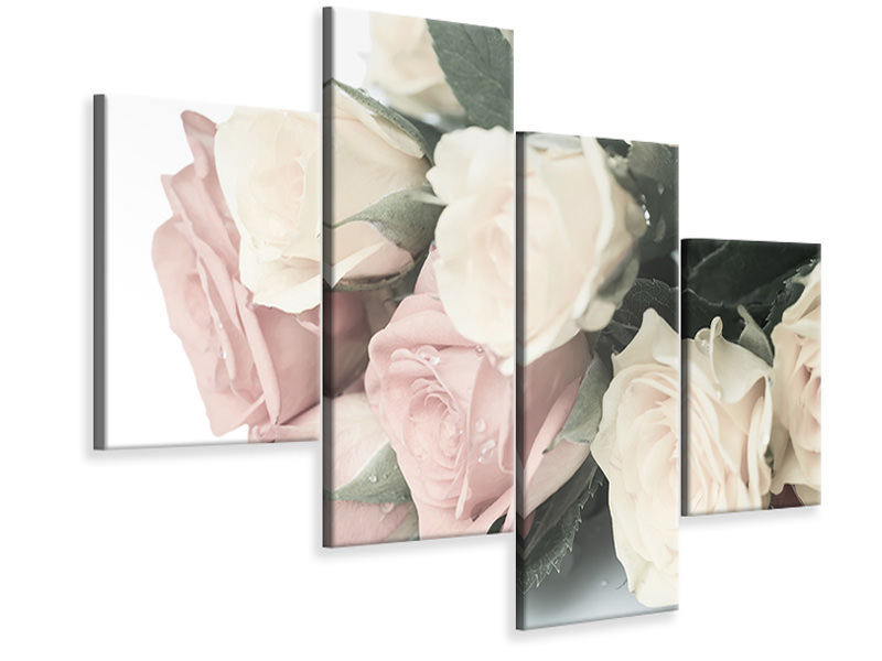 Modern 4 Piece Canvas Print Romantic Rose
