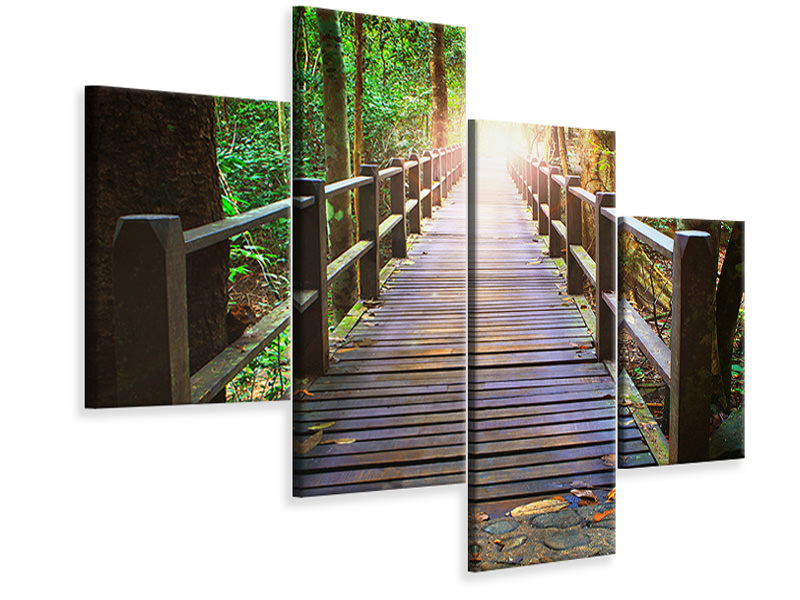 Modern 4 Piece Canvas Print The Bridge In The Forest