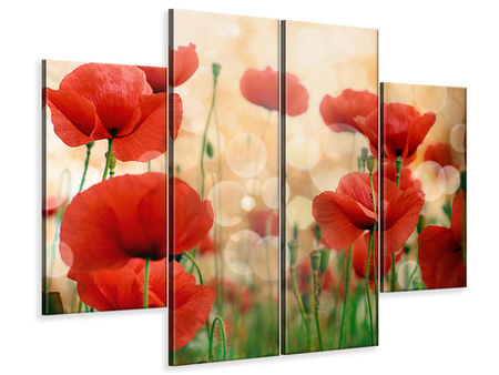 4 Piece Canvas Print The Poppy