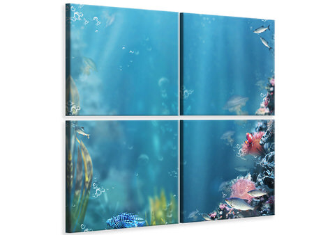 4 Piece Canvas Print Underwater