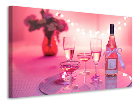 Canvas print Cheers in pink-red
