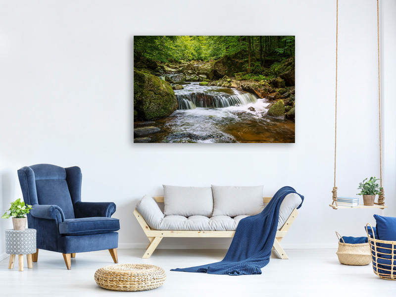 Canvas print Relaxation at the waterfall 2