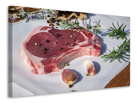 Canvas print Raw veal cutlet