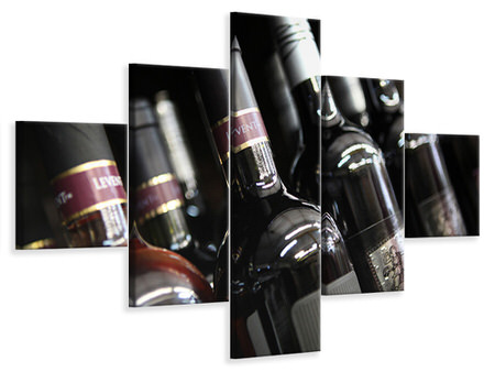 5 Piece Canvas Print Bottled Wines