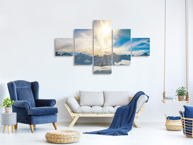 5 Piece Canvas Print Over The Snowy Peaks