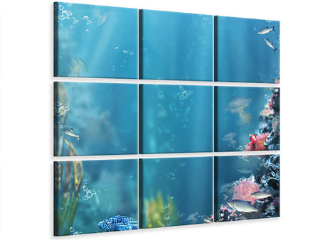 9 Piece Canvas Print Underwater
